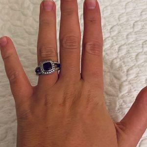 David Yurman Petit Garnet and Diamond Albion Ring